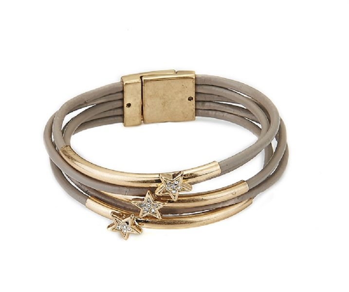 Latte+Leather+and+Gold+and+Crystal+Star+Bracelet+from+ClutchandClasp+by+DaWanda.com