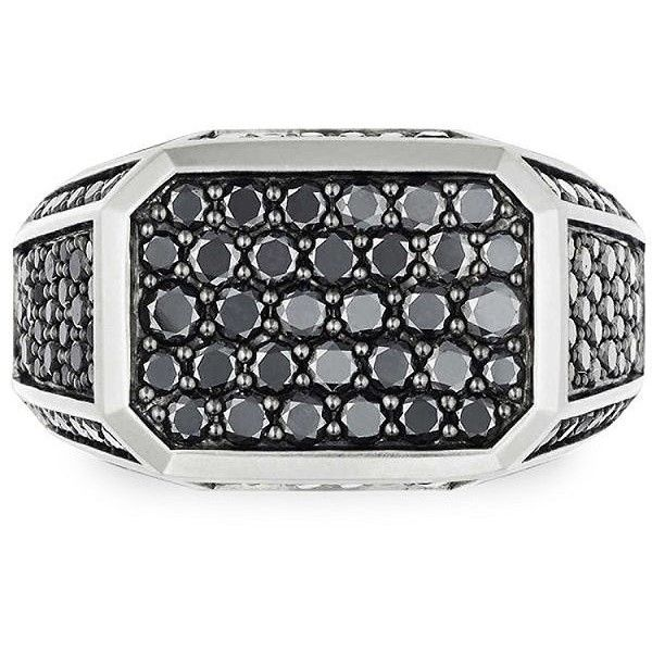David Yurman Black Diamonds Pave Signet Ring (€2.015) ❤ liked on Polyvore featuring men's fashion, men's jewelry, men's rings, mens rings, mens watches jewelry, mens black diamond rings, mens signet rings and mens square ring