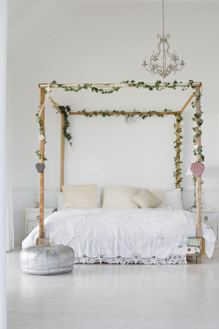 #canopy, #whimsical, #feminine, #chandelier, #pouf, #bedroom, #bedding, #neutral, #white    Read More: http://www.stylemepretty.com/living/2013/05/13/serene-bedrooms/