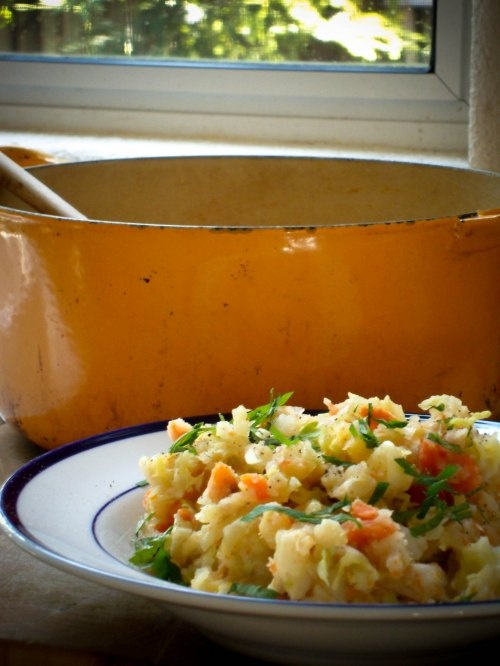 stamppot: a hearty and healthy dutch recipe of mashed potatoes, root vegetables, and cabbage