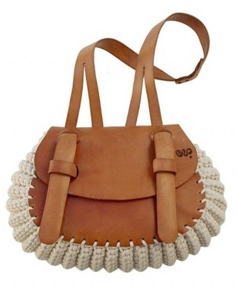Nest : Narrowsburg, New York. This is another beautiful Nest bag. I saw the Marreca bag in Harper's Bazaar and fell in love. This is the Cipola, a rounder bag with double straps/closure. Leather and crochet cotton cord bag.