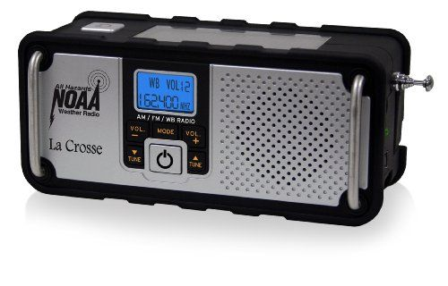 cool La Crosse Technology 810-106 NOAA/AM/FM Severe Weather Alert Radio with solar panel or hand crank recharging power, USA-made IC chip for High Quality Digital reception, mobile device charging port, rugged design with non-slip rubberized black finish and high intensity LED flashlight
