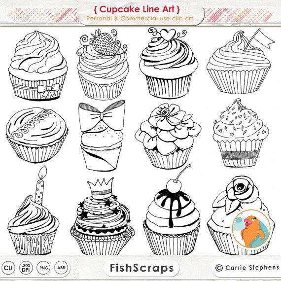 Petit gâteau mignon Line Art, timbre numérique Cup Cake, anniversaire ClipArt noir et blanc Illustration, à la main tiré Digital Graphics, Télécharger PNG – Summercat Black