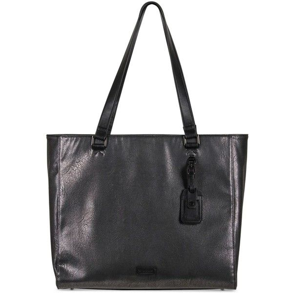 Kenneth Cole Reaction Tote-ally Silver Faux-Leather Tote ($100) ❤ liked on Polyvore featuring bags, handbags, tote bags, charcoal, faux leather purses, laptop tote bag, laptop tote, faux leather handbags and vegan tote bags