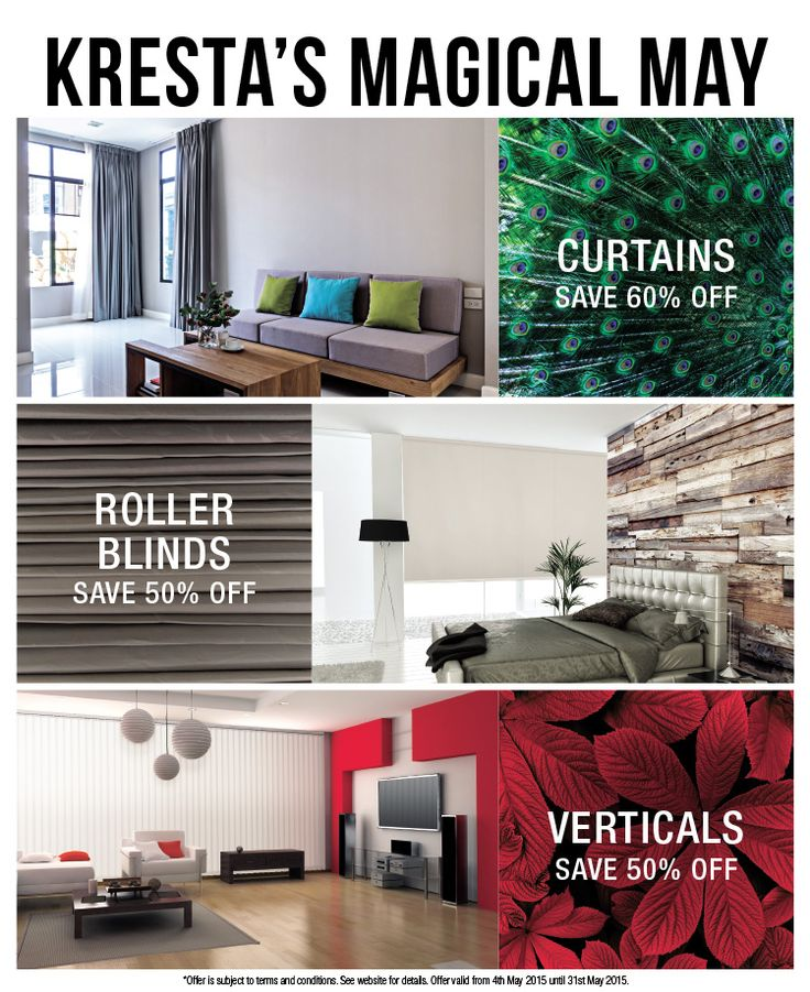 Bring some magic to your home with Kresta's enchanting offers for the month of May only! Our range of inspiring window coverings will rejuvenate your home instantly and with incredible savings of over 50% you'll be surprised some simple it is. Terms & Conditions apply. Visit our website for more details now! https://www.kresta.com.au/promotions/