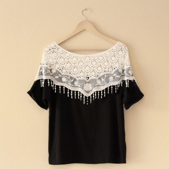 Women Lace Shirts Cotton Blend   Lace Batwing Short Sleeve Blouse T-shirt Top