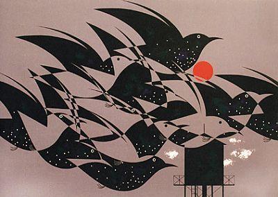 Starlings by Charley Harper