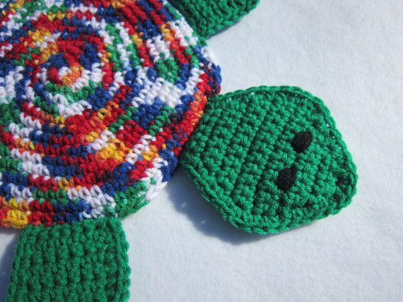 Turtle Hot Pad Crocheted Bright Green Blue by crochetedbycharlene