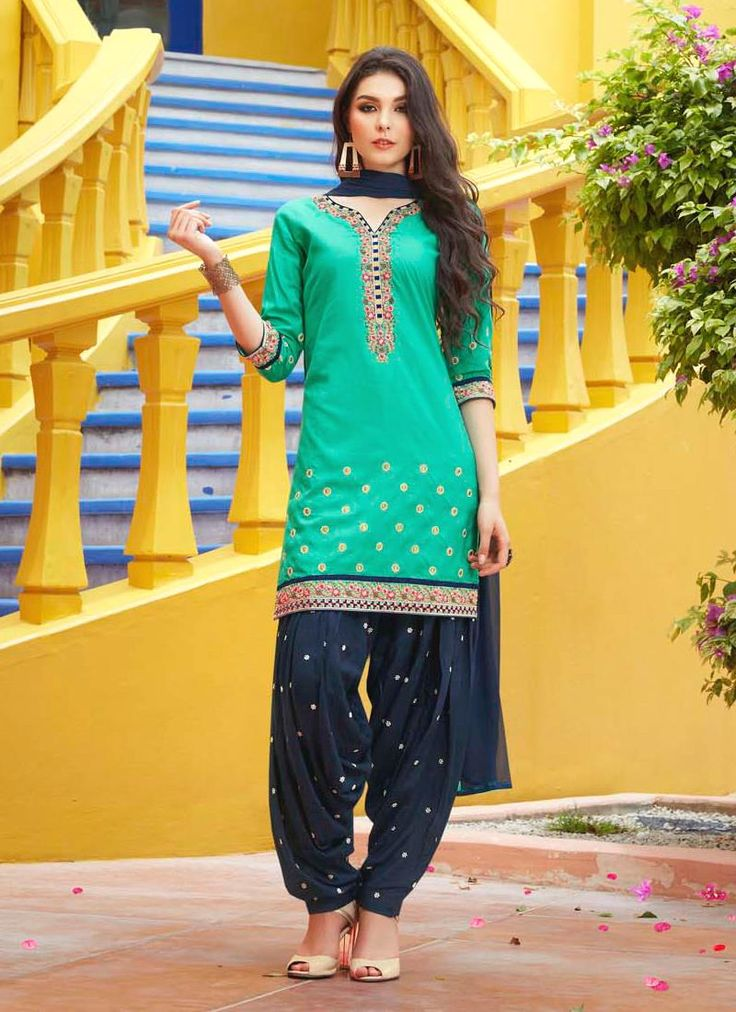 Artistic Cotton Sea Green Designer Patiala Salwar Kameez