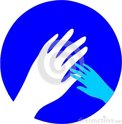 A kid`s hand and an adult`s hand in a blue circle.