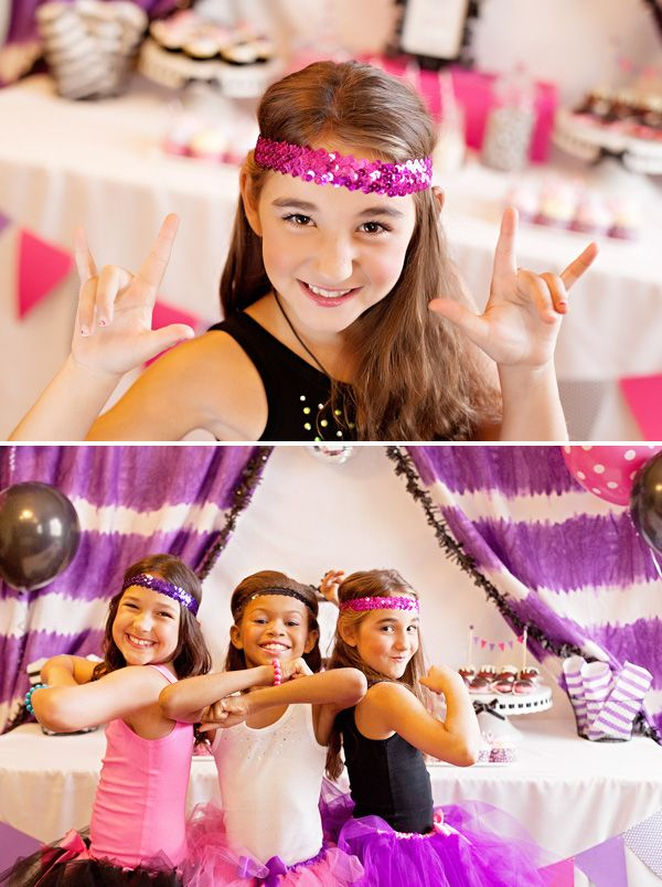 """Let's Dance"" Pop Star Birthday Party with pink tutus a purple tye dye backdrop, disco ball cupcake toppers, giant balloons and cute cotton candy cups!"