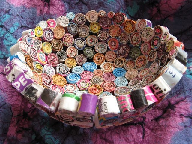 Bowl made from rolling strips of magazines.