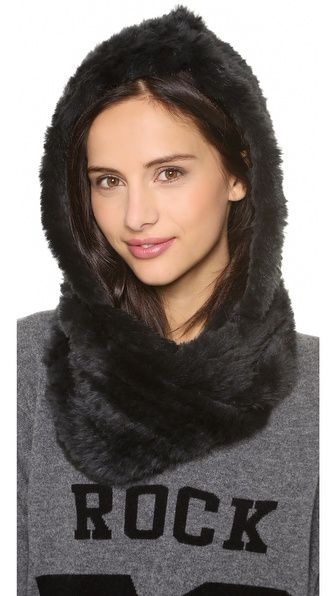 Jocelyn Rabbit Fur Hood Infinity Scarf (DIY using Faux Fur, similar to an infinity scarf)
