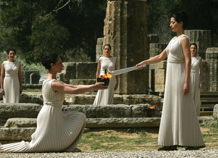 the ancient ritual of lighting the Olympic Flame takes place in ancient Olympia in Greece before the Olympic Games