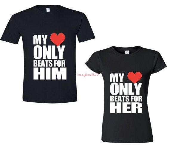 My Heart Only Beat For Him Her Couple TSHIRT Matching by buyfor247