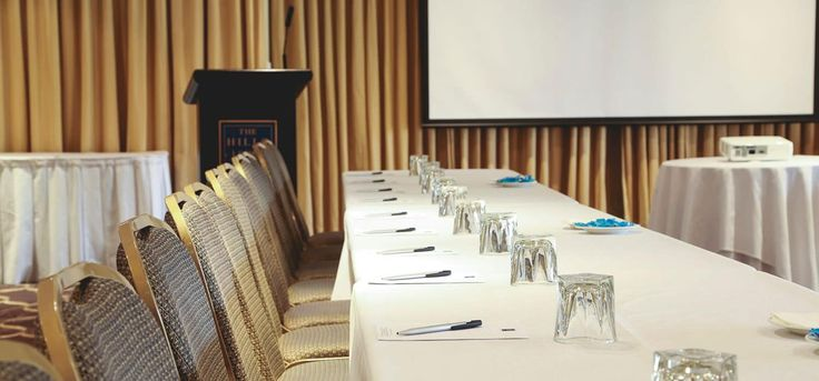Conference table set up - our lodge has a range of conference, meeting and function rooms that can be hired for all requirements - Sydney function, meeting and event space hire.