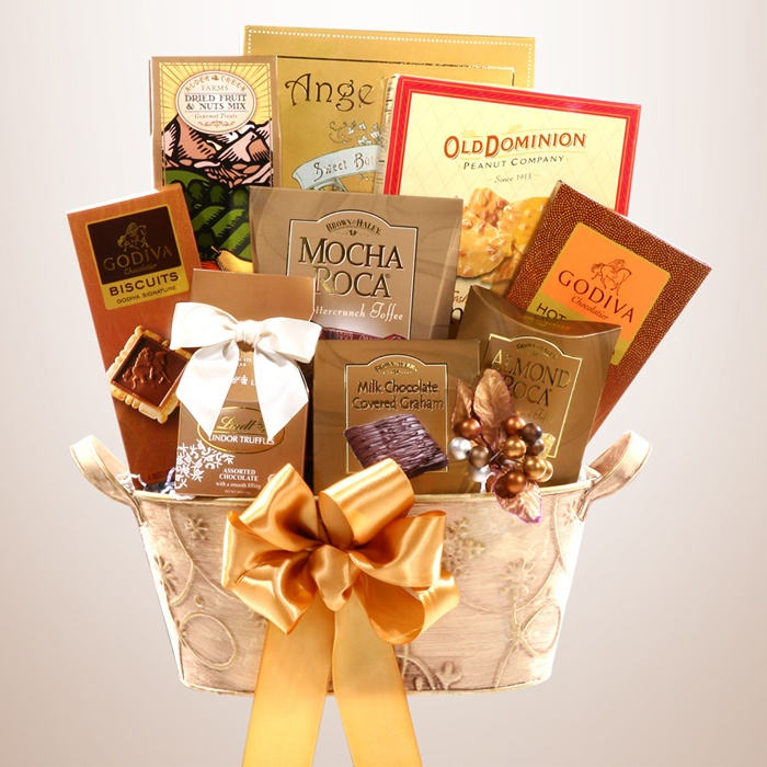 Golden Decadence Gift Basket Snack gift baskets, Holiday