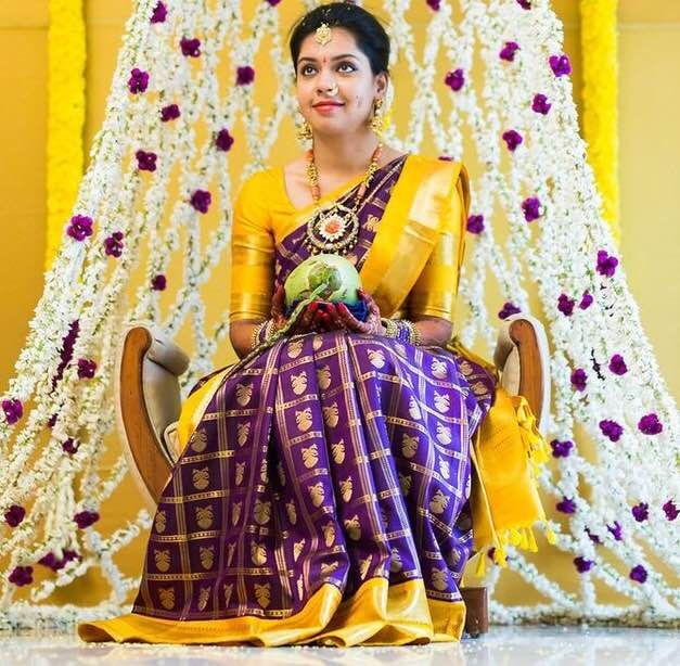 purple-yellow-bridal-saree.JPG (627×614)