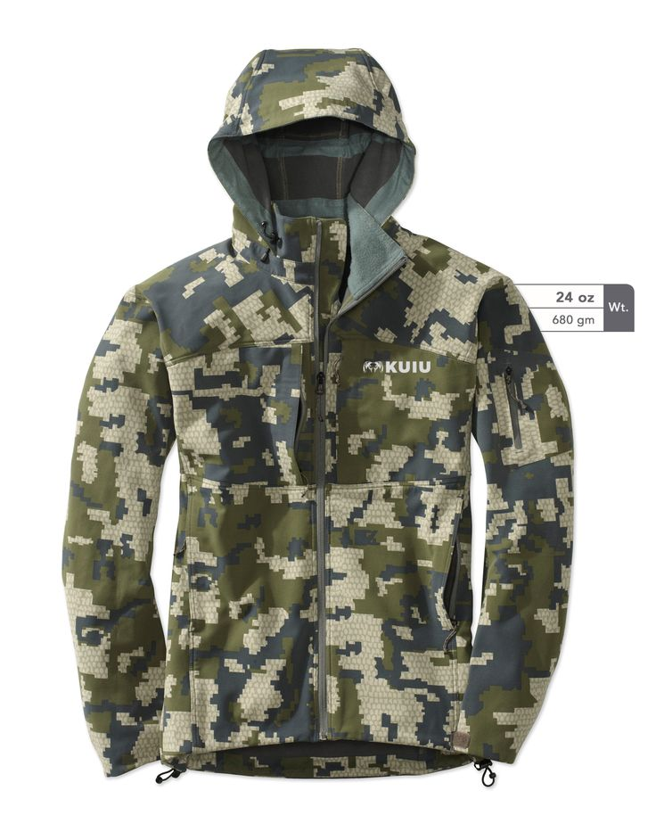 Guide DCS water resistant hunting jacket. Designed with lightweight water repellent material for rainy mountain weather. Shop soft shell hunting jackets online at KUIU.