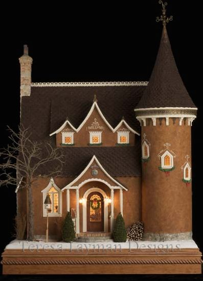 The seasonal stamps from the U.S. Postal Service are actually photographs of four delicious mini-dwellings created by Teresa Layman, a gingerbread house expert who authored two books on the subject.