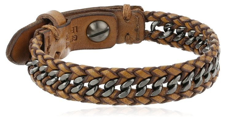 "Fossil ""Sun Up Sun Down"" Men's Leather and Chain Bracelet"