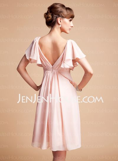 Bridesmaid Dresses - $89.49 - Empire Sweetheart Knee-Length Chiffon Bridesmaid Dress With Ruffle (007004126) http://jenjenhouse.com/Empire-Sweetheart-Knee-Length-Chiffon-Bridesmaid-Dress-With-Ruffle-007004126-g4126
