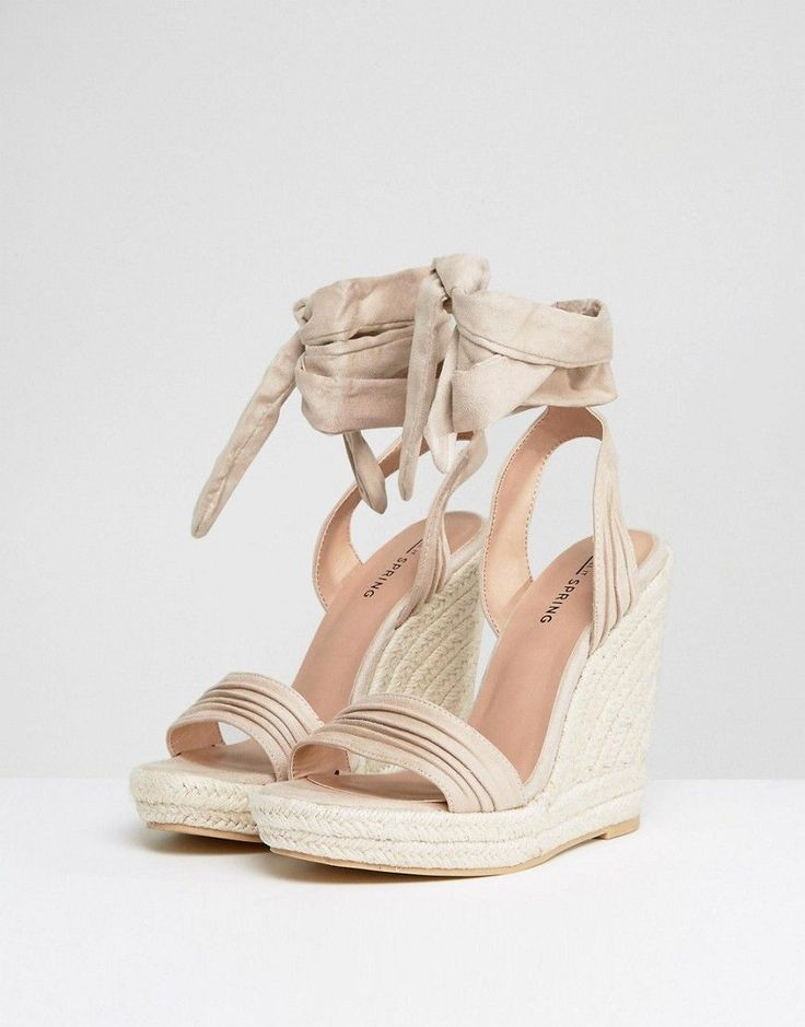 Call It Spring Cadoilla Nude Espadrille Ankle Tie Sandals - Beige