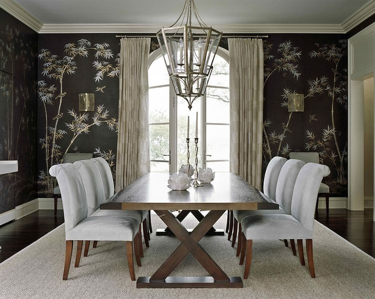 Elegant Symmetry: Chairs, Dream House, Wall Decoration, Diy'S Wall Art, Dining Rooms Design, Black Rooms, Dining Rooms Wall, Chinoiserie Wallpapers, Black Wall