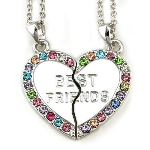 Best Friends Forever BFF Multicolor Pink Green Purple Blue Heart Two Pendant Necklace Fuchsia Stone Teen Teenager Lady Wom... $10.99 #topseller