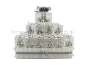 Silver wedding anniversary favour pryamid, this is a fantatsic favour display centre piece for your 25th wedding anniversary party celebration. Make a statement with this elegant display. #italian #bomboniere #anniversary #favour #favor http://www.bombonierashop.com/en/department/11/Gold-and-Silver-Wedding-Anniversary-Favours.html