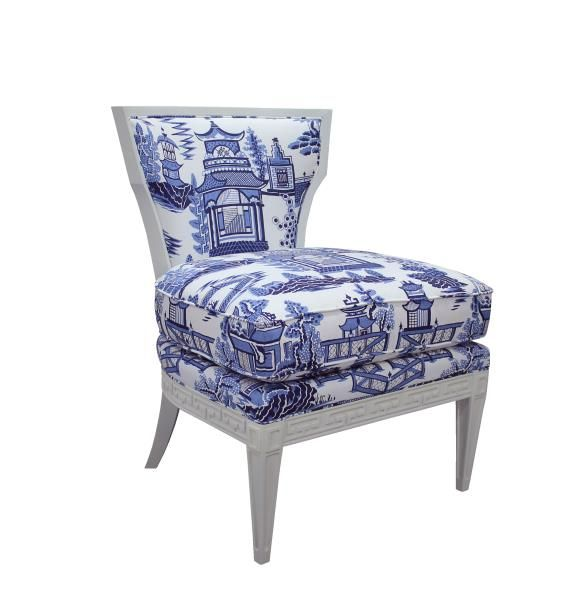 TOP PICK by LISA KAHN http://kahndesigngroup.com/  CR Laine Furniture Company, Inc.   805-05 Helen Chair   The Helen chair is part of the Tobi Fairley for CR Laine Upholstery Collection. The base of the chair are carved with Tobi's signature Greek key pattern to add a subtle elegance to the frame's style. Helen is covered in fabric Nanjing Sapphire, a Chinoisserie print from Schumacher featuring Asian landscapes in a simply rendered, graphic style. #HPmkt