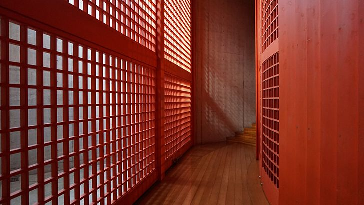 Red hallway  http://5kwallpapers.com/wall/red-hallway  #red #hallway #room #quiet #empty