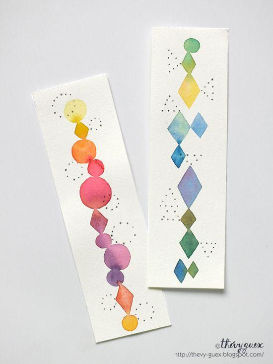 Marque Pages Peinture Aquarelle Originale Losange Cercle Géométrique Abstrait Pastel Multicolore Arc en Ciel : Marque-pages par thevy-guex