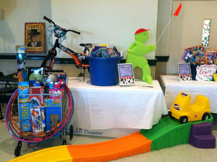 FIrst Grade's theme basket--Let's Go Outside. Outdoor toys donated by first grade families.