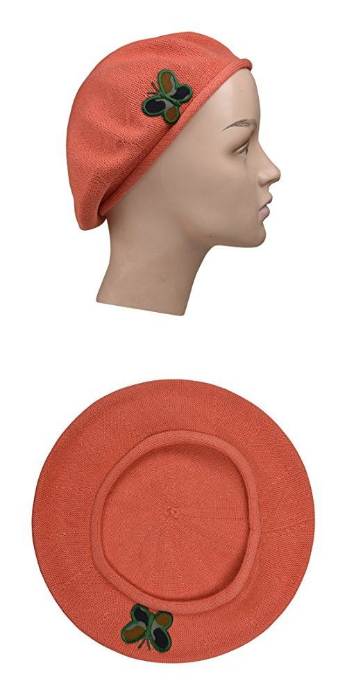 424d429ad5d0d Carrot 100% Cotton Beret French Ladies Hat with Army Butterfly Applique