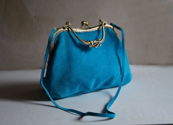 Women's bag unique bags blue suede purse frame by Malikdesign