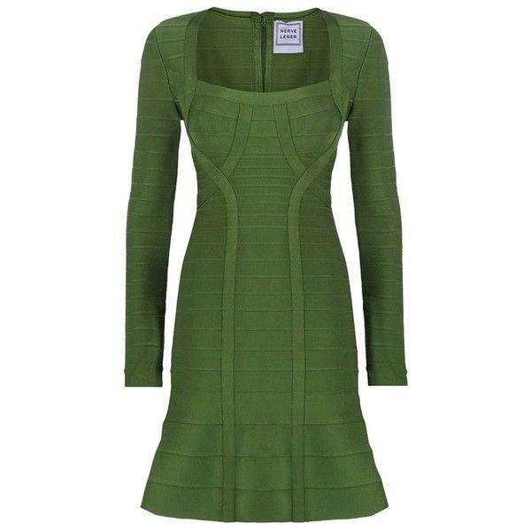 Herve Leger Rita Flare Dress ($2,115) ❤ liked on Polyvore featuring dresses, hervé léger, green slip, flared dress, flare dress and green bandage dress