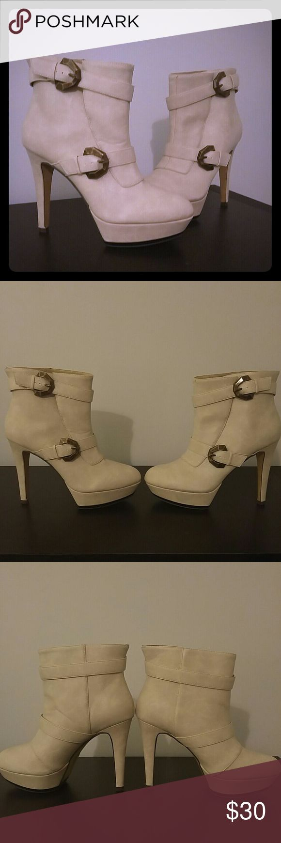 Cream High Heel Booties with Buckles, size 7.5 Cream High Heel Booties with Buckles.  5 inch heel, 1.5 inch platform. Michael Antonio Shoes Ankle Boots & Booties