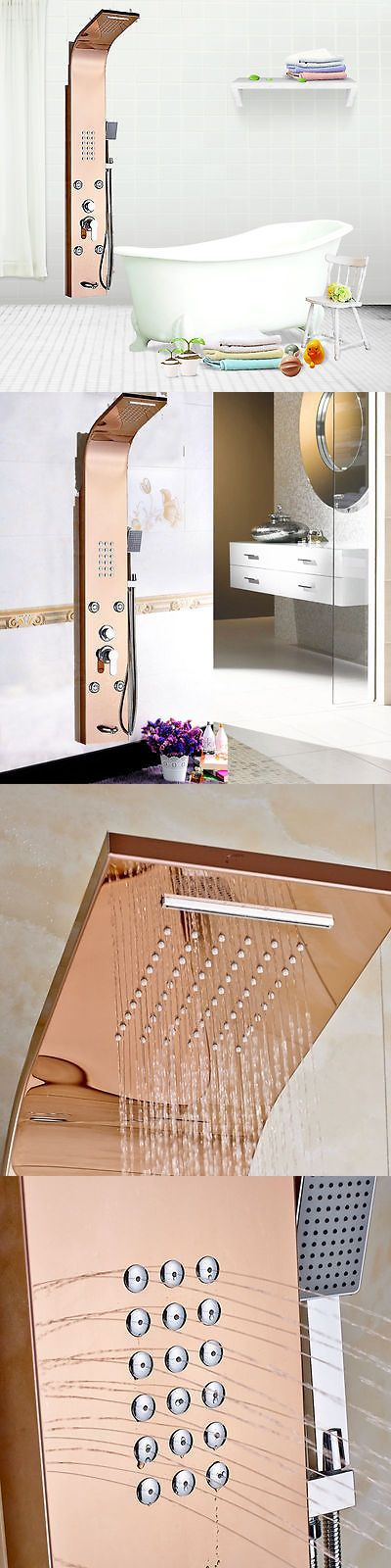 Shower Panels and Massagers 121849: Rose Golden Waterfall Shower Column Massage Jets Mixer Spout Hand Shower Panel -> BUY IT NOW ONLY: $119.7 on eBay!