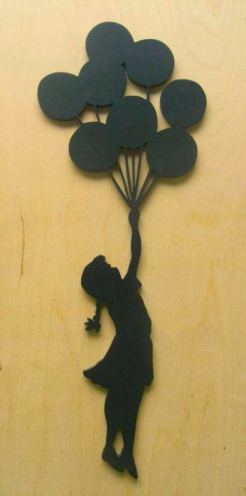 Banksy Girl With Balloons Wood Silhouette Wall Art by existencil                                                                                                                                                                                 More