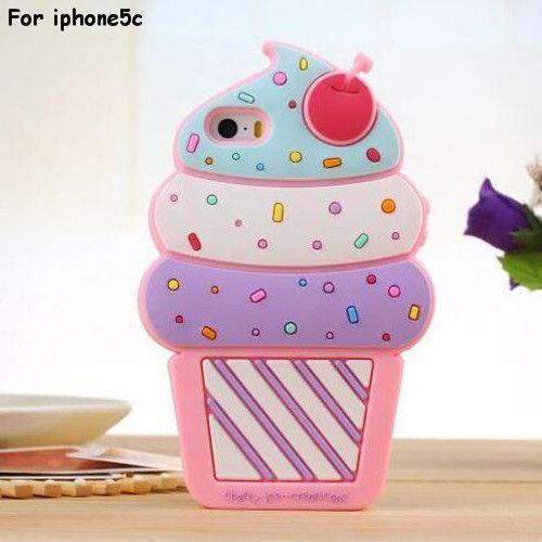 2015 la date de noël Halloween cadeau 3D mignon cerise crème glacée molle étui en silicone pour iphone 5 5S / 5c / 6 4.7 polegada dans Sacs et Etuis pour Téléphone de Téléphones et télécommunications sur AliExpress.com | Alibaba Group