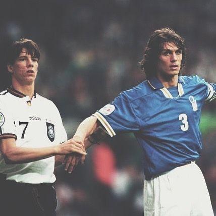Christian Ziege man marking Paolo Maldini by holding his hand    #maldini #italy #italyfootball #footballshirt #footballshirtcollective #maldini #germany