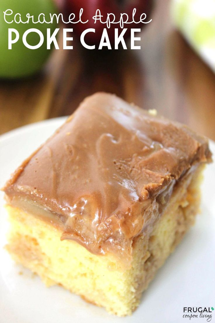 Caramel Apple Poke Cake made with cake mix and apple filling. Easy to make. Recipe details on Frrugal Coupon Living. Pin to Pinterest.