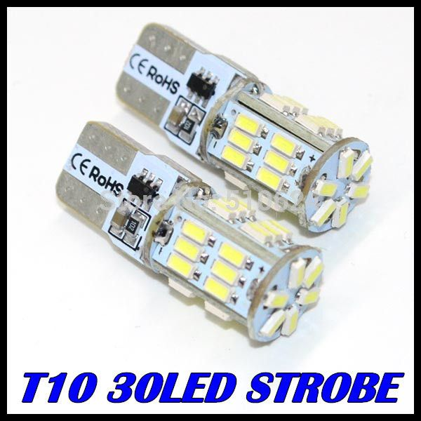 2PCS/LOT t10 led strobe high quality Strobe flash w5w 30smd t10 30led 3014 smd car led Light Bulbs wholesale free shipping