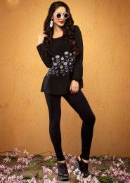 Casual Wear  Crepe Black Embroidered Work Top