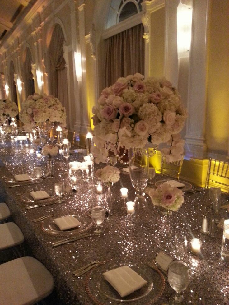 35 best images about silver white grey on pinterest for Wedding reception table linen ideas