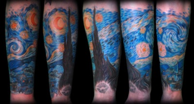 Van Gough: Tattoo Ideas, Starry Night Tattoo, Vincent Vans Gogh Tattoo, Gogh Starry, Body Art, Night Bi, Night Sleeve, Van Gogh Tattoo, Starry Nights