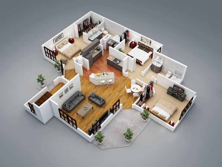 3d floor plans wazo communications - 3d House Floor Plans Free