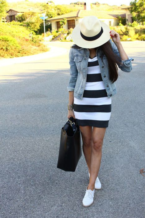 White and black dress with a jean jacket and white shoes.