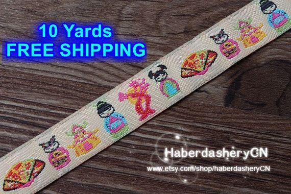10 Meter LB174 gewebte Jacquard Ribbon FREE SHIPPING süße gesha